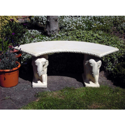 Stone Curved Elephant Garden Bench