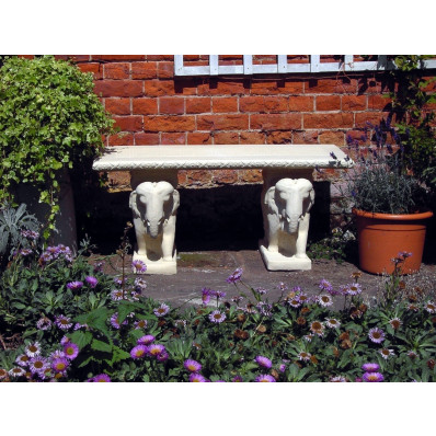 Stone Straight Elephant Garden Bench