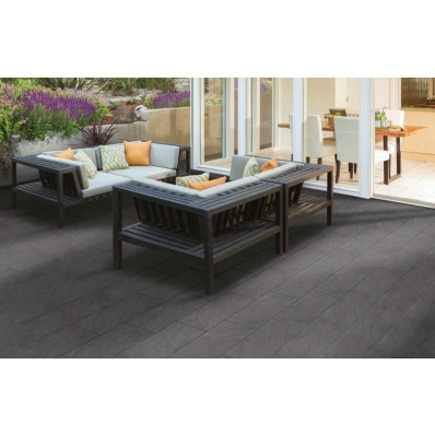 Bradstone Mode Porcelain Paving, Profiled, Graphite, 600x300 72 Pack