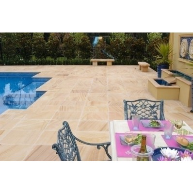 Sawn Teakwood, Natural Sandstone Paving 19.35m2 Patio Kit