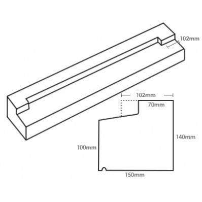 TYPE3 Stone Stooled Window Sill 140-100mm x 150mm