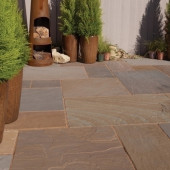 Bradstone Blended Natural Sandstone Paving, Rustic Buff Blend, 19.52m2 Patio Pack