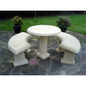 Stone Country Pedestal Table and Bench Set