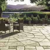 Bradstone Old Town Paving, Grey Green, 3 Ring Circle, 4m Diameter