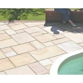 Rippon Buff, Natural Sandstone Paving 19.35m2 Calibrated Patio Kit
