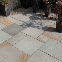 Bradstone Blended Natural Sandstone Paving, Rustic Grey Blend, 19.52m2 Patio Pack
