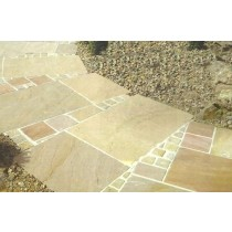 Autumn Mix, Natural Sandstone Paving 19.35m2 Calibrated Patio Kit