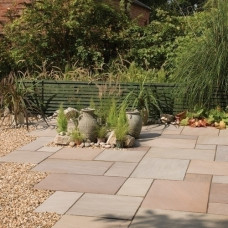 Bradstone Blended Natural Sandstone Paving, Imperial Green Blend, 19.52m2 Patio Pack