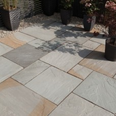 Bradstone Blended Natural Sandstone Paving, Rustic Grey Blend, 19.52m2 Patio Pack