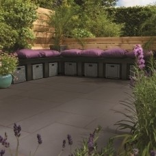 Bradstone Smooth Natural Sandstone Paving, Dark Grey, 15.30m2 Patio Pack